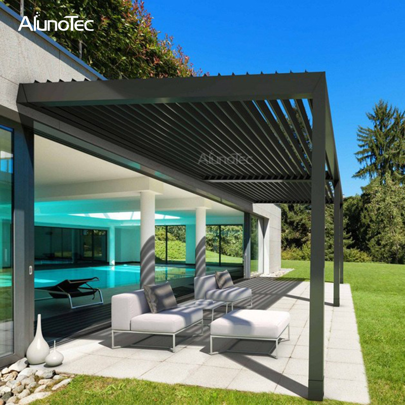 Customized Pavilion Louvered Pergola Cover Electric Waterproof Aluminium Gazebo