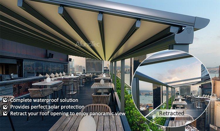 Electric Control Waterproof Aluminium Retractable PVC Roof ...