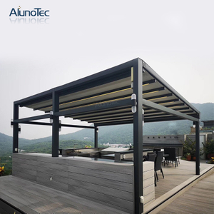 Electric Folding Balcony Roof Retractable Awning Gazebo with Curtain