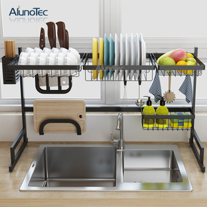 85cm Durable Black Design Kitchen Storage Shelf Over The Sink Dish Drainer Rack