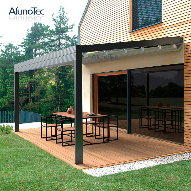 Outdoor Folding Motorized Retractable Roof With Louvered Roof