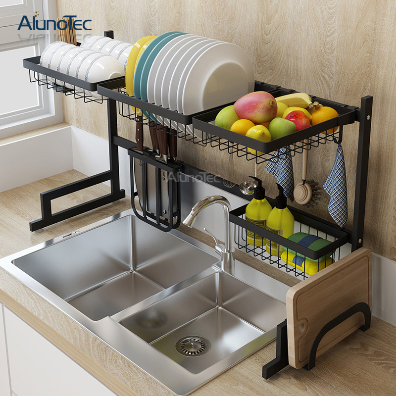 Black Metal 85cm Kitchen Stand Hanger Dish Rack Drain Over The Sink Storage Organizer