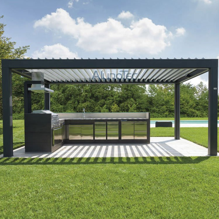 Customized Rainproof Garden Aluminum Louver Blade Pergola
