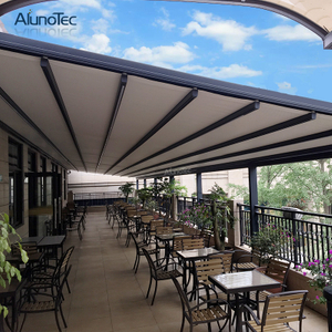 Fully Retracted Electric Aluminum Retractable Roof Sunlight Shade Patio Awning Covers