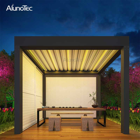 Electric Tent Retractable Awning Waterproof Aluminum Pergola with LED Light And Column