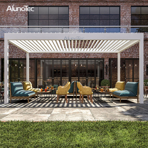 China Aluminum Louver Roof Waterproof Retractable Pergola Gazebo for Backyard