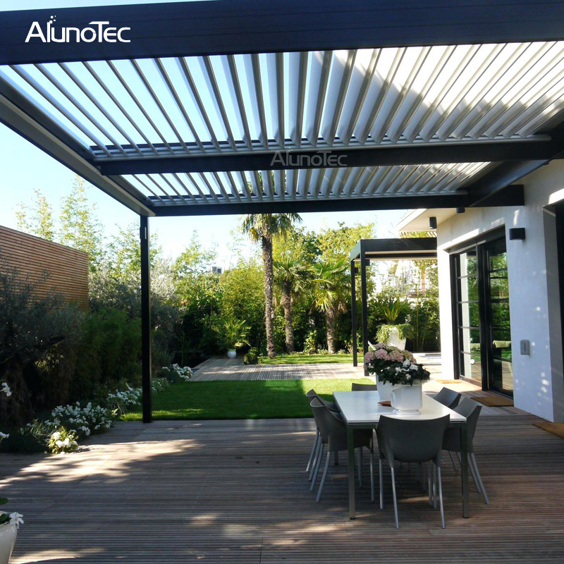 100% Waterproof Gazebo Leisure Garden Motorized Louvered Roof Aluminum Outdoor Pergola