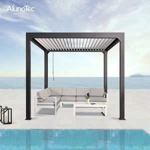 Standard Sunshade Manual Gazebo Outdoor Opening Roof Louvered Pergola 3x4 With Sliding Zip Screen