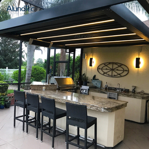 China DIY Aluminum Louver Roof Waterproof Retractable Pergola Cover Shades Gazebo for Outdoor