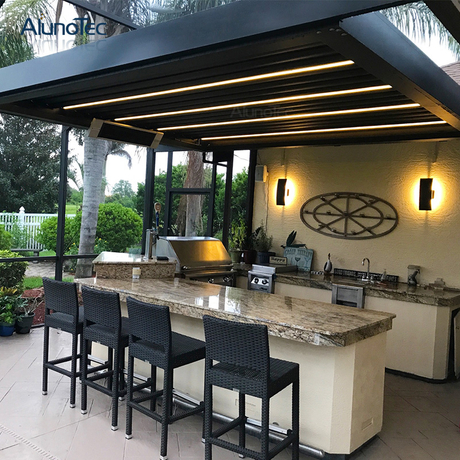 Modern Design Free Standing Pergola with Side Screen