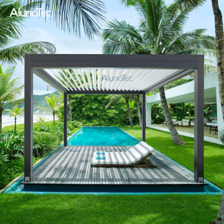 Custom Design Aluminum Swimming Pool Pergola House With LED Light