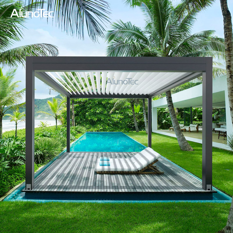 Customize Adjustable Gazebo Folding Pergola Wall Mounted With Louvered Roof