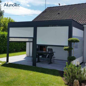 Waterproof Jalousie Sunshade Louvres Motorised Aluminium Pergola Cover With Curtain