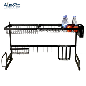 Strong Black Standing Type 95cm 2 Tiers Kitchen Storage Organizer Stainless Steel Dish Rack