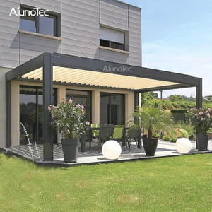 Shade Gazebo Aluminum Waterproof Louvre Roof Pergola with Outdoor