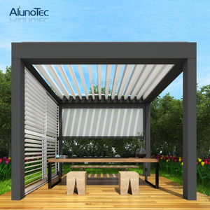 Waterproof Aluminium Gazebo with Rolling Pergola Screen