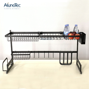 Free Standing 95cm Black Coated Over Sink Kitchen Storage Holder Household Stainless Steel Dish Rack