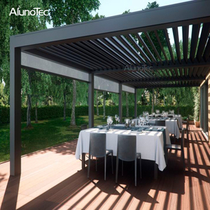 Electric Customized Louvre Roof Gazebo Rainproof Metal Pergola Bioclimatic