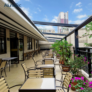 Aluminum Waterproof Retractable Pergola Cover Shades Gazebo For Restaurant