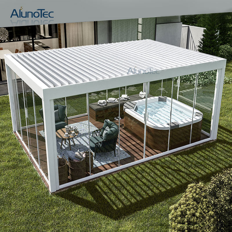 Motorized Aluminum Garden Gazebo Tent Canopy With Louver Roof