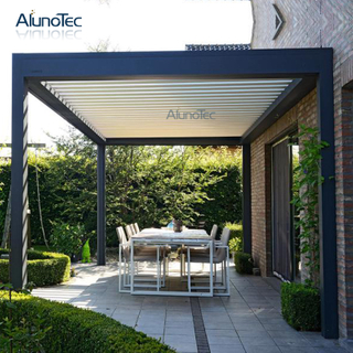 Outdoor Terrace Restaurant Opening Roof Gazebo Motorized Aluminium Pergola