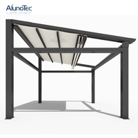 Electric Gazebo Waterproof Awning Pergola With Louvered Roof