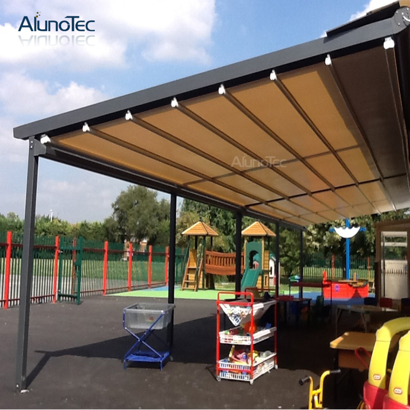 Garden PVC Retractable Roof Aluminum Pergola With Led Lights