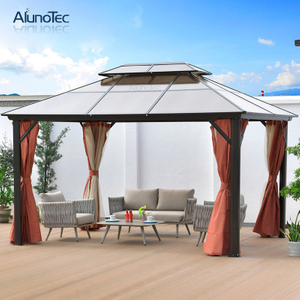 Roman Outdoor Tent Aluminum Profile Pavilion Hardtop Gazebo With Side Curtain