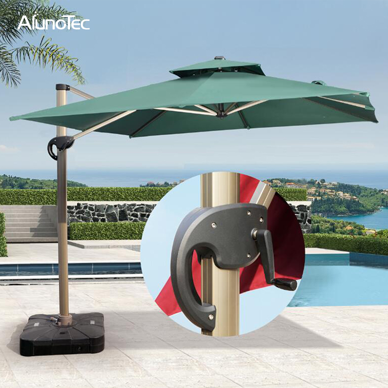 Aluminum China Outdoor Folding Roman Parasols Cantilever Patio Umbrellas