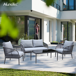 Extruded Aluminum 4 Pieces Patio Outdoor Patio Furniture Rope Woven Sofa Sets
