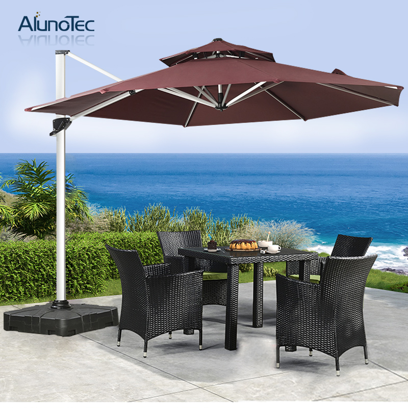 Outdoor Folding Roman Parasols Cantilever Patio Umbrellas With Aluminium Frame