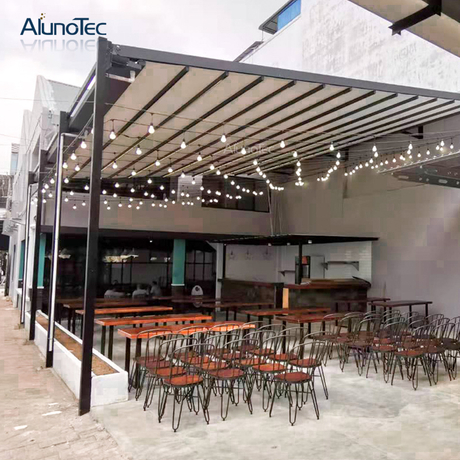 Diy Outdoor Waterproof Opening Cover Retractable Awnings For Restaurant Buy Retractable Awning Retractable Roof Awning For Deck Product On Aluminum Pergola Alunotec