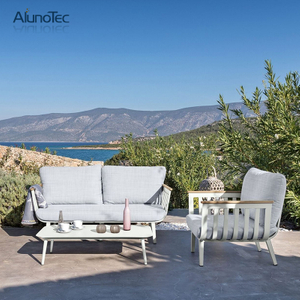 4 Pieces Alminuim Table Chairs Sofa Set Outdoor Patio Furniture