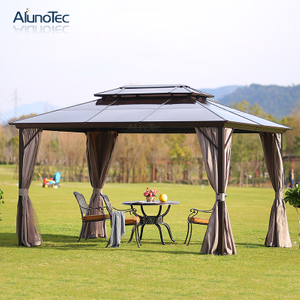 Freestanding Waterproof Aluminium Polycarbonate Gazebo With Mosquito Net