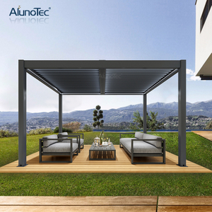 AlunoTec Aluminum Motorized Outdoor Gazebo Waterproof Pergola Roof