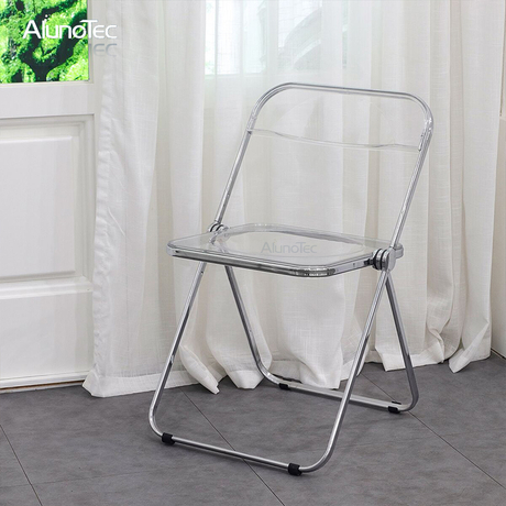 Outdoor Furniture Transparent Foldable Plastic Dining Chair in Chrome
