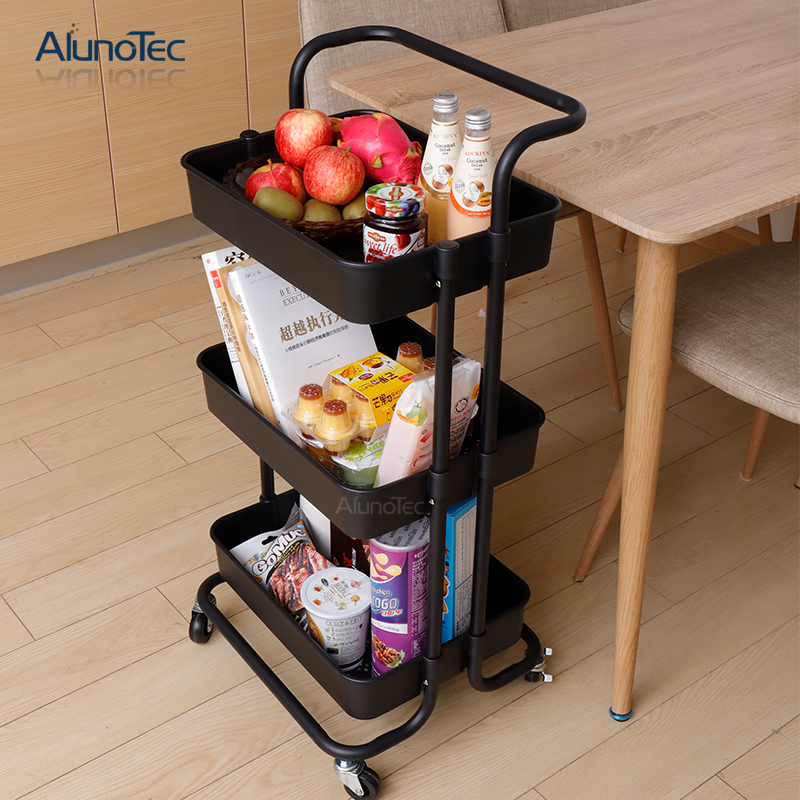 Movable Furniture Design Organizer Shelf Rolling Trolley for Household Storage