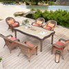 Luxury Design Outdoor Patio Dining Set Rattan Dining Chairs With Cushion