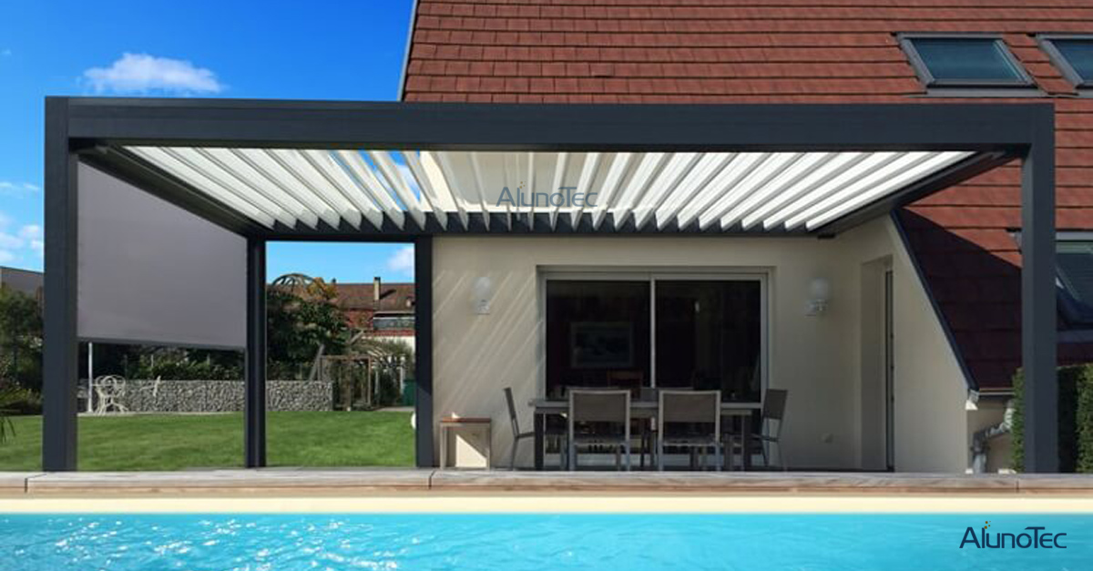 Aluminum Pergola with Side Screens For Your Private Massage Pool