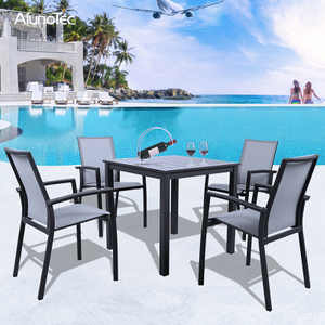 5 Pieces Alminuim Table Chairs Garden Dining Set Outdoor Patio Furniture