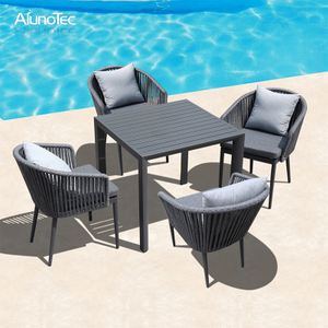 Patio Dining Set with Rope Woven Dining Chairs and Square Slat-Top Table